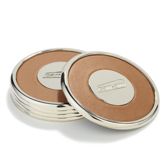 Can-Am Metal & Leather Coasters (Set Of 4)