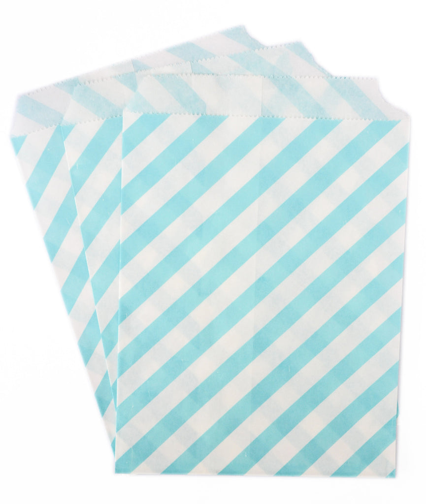 Baby Blue Stripe Candy Favor Bags (set of 25)