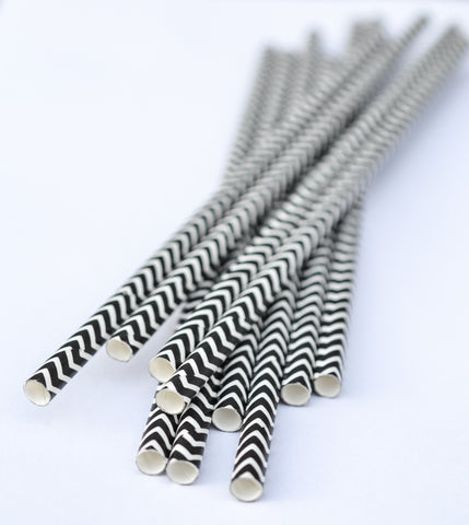 Black Chevron Paper Straws (25 count)