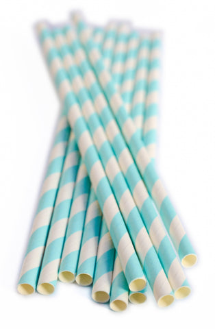 Baby Blue Stripe Paper Straws (25 count)