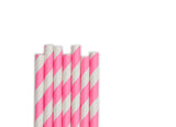 Bubble Gum Pink Stripe Paper Straws (25 count)