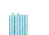 Baby Blue White Polka Dot Paper Straws (25 count)