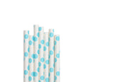 Baby Blue Big Polka Dot Paper Straws (25 count)