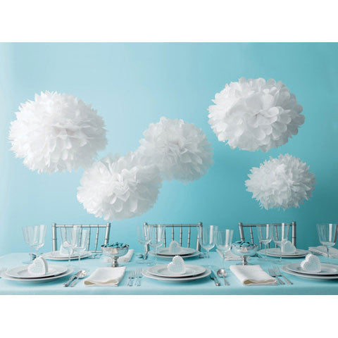 White Tissue Pom Poms Set (5 different sizes)