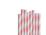 Light Pink Stripe Paper Straws (25 count)