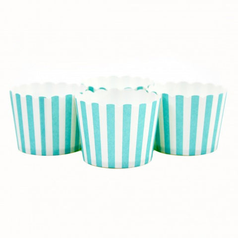 Candy/Baking Cups, Teal Blue Stripe (set of 24)