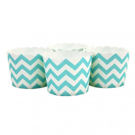Candy/Baking Cups, Teal Blue Chevron (set of 24)