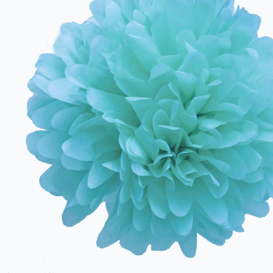 Teal Tissue Pom Poms (set of 4)