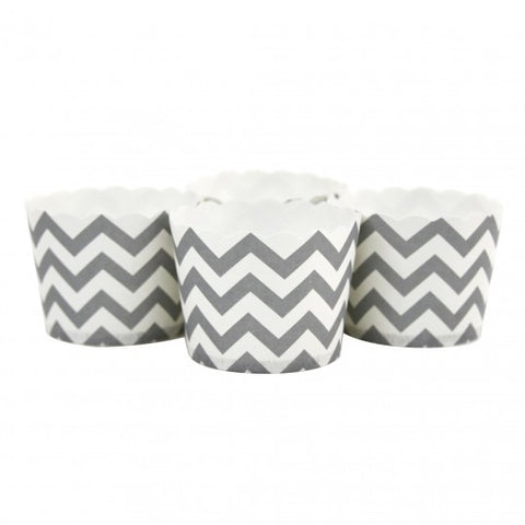 Candy/Baking Cups, Grey Chevron (set of 24)