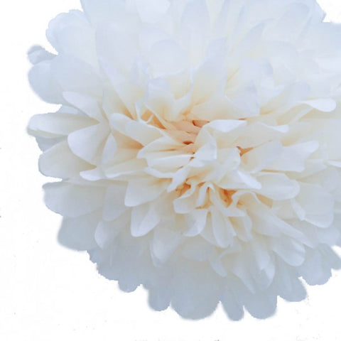 White Tissue Pom Poms (set of 4)