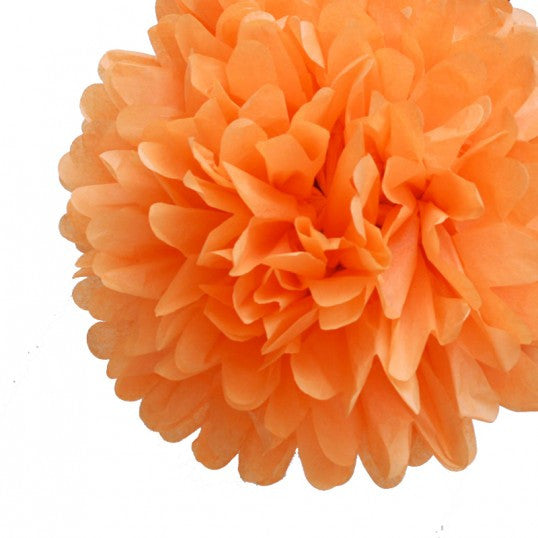 Orange Tissue Pom Poms (set of 4)