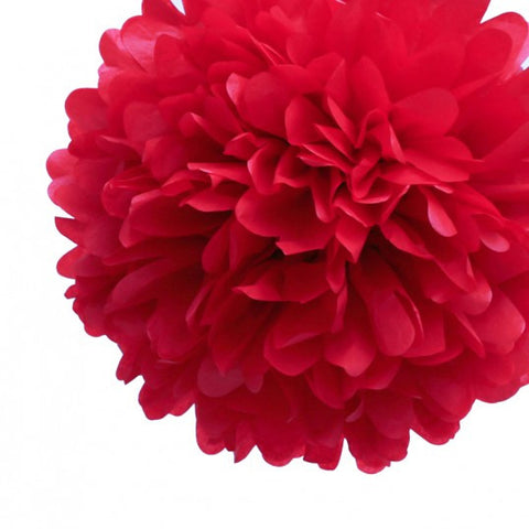 "10"" Red Tissue Pom Poms (set of 4)"