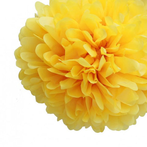 Yellow Tissue Pom Poms (set of 4)
