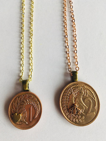 *Re-minted Petite Coin Pendants - One Cent or Two Cents