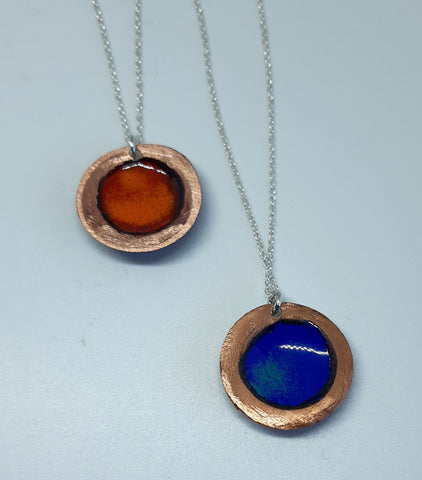 NEW!! Glass Art - Enamoured Aotearoa - Beaten Copper Enamelled Pendants