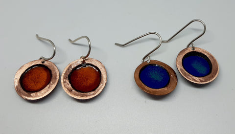 NEW!! Glass Art - Enamoured Aotearoa - Beaten Copper Enamelled Earrings