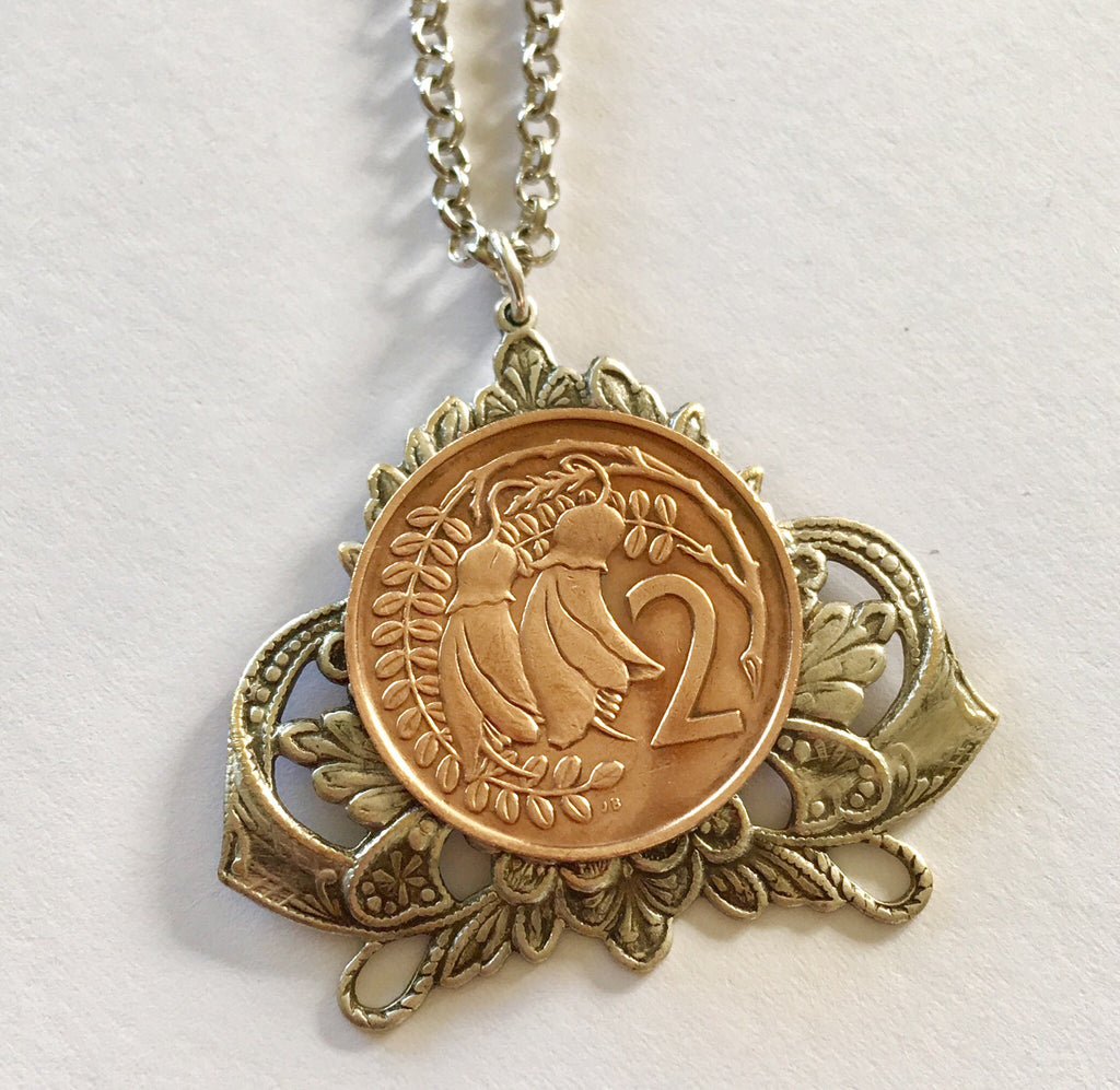 *SALE - Re-minted Crest Frame Pendant - Two cents