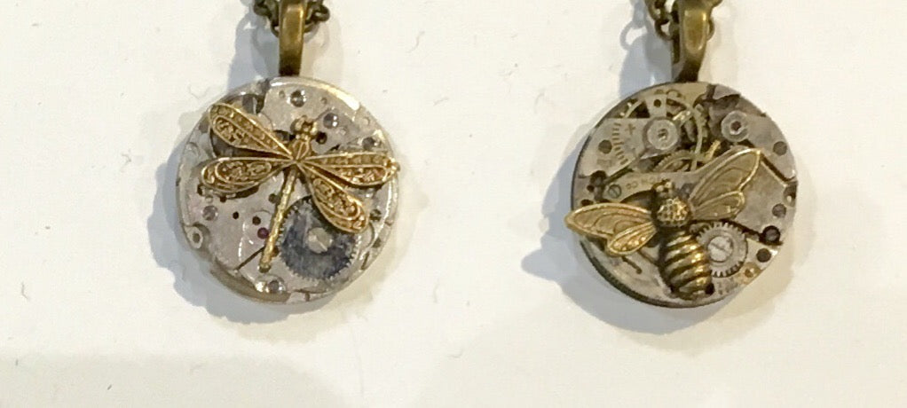 Timepiece Petite Mixed Metal Pendant with Dragonfly or Bee