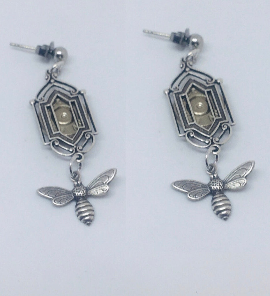 NEW!!  Art Deco Window Earrings with Bees and Bullet Slices - Silver