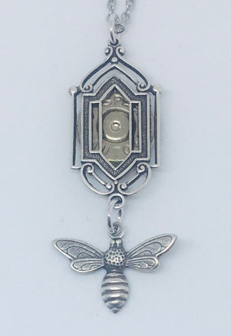 NEW!!  Art Deco Window Pendant with Bee and Bullet Slice - Silver