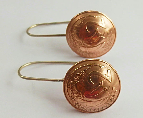 Bestseller! *Re-minted Artisan Earrings - One Cent, Two Cents, Sixpence or Threepence