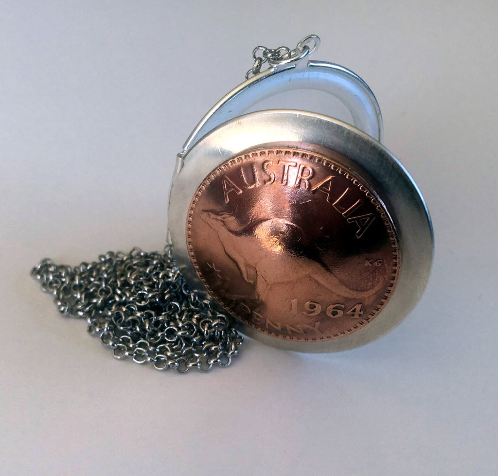 Re-minted AUSTRALIAN mixed metal locket - One Penny