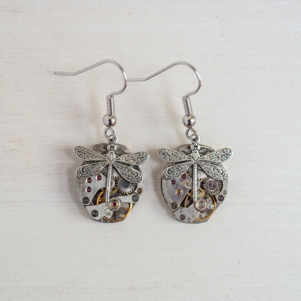 *SALE - Timepiece earrings - dragonflies, bees or butterflies