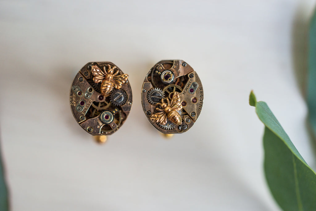 Timepiece Cufflinks - Silver with Bronze Bees