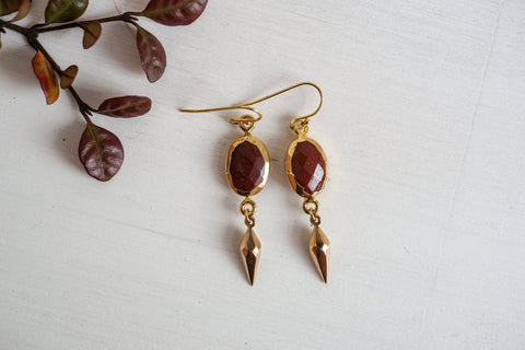 No Division: Explorer - Red Jasper Oval Earrings with Faceted Bronze Spike Drops