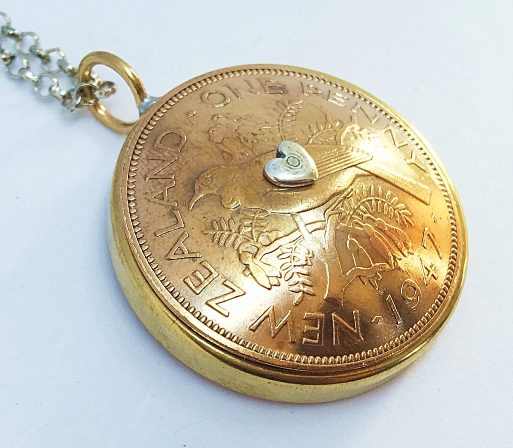 Bestseller! *RE-MINTED: Domed Bezel Mixed Metal Pendant - One Penny