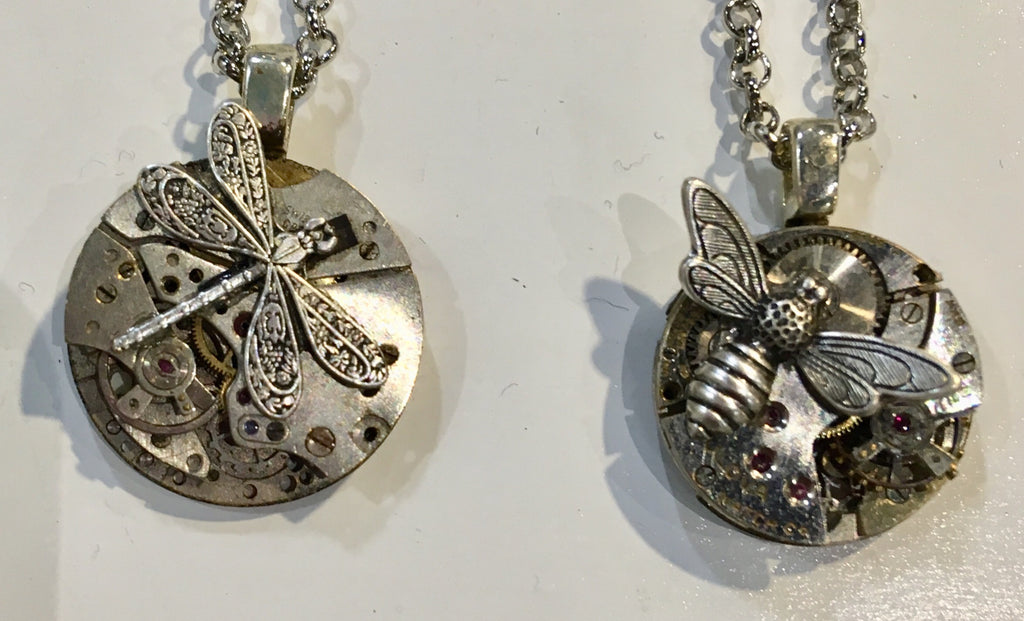 Timepiece Petite Silver Pendant with Dragonfly or Bee