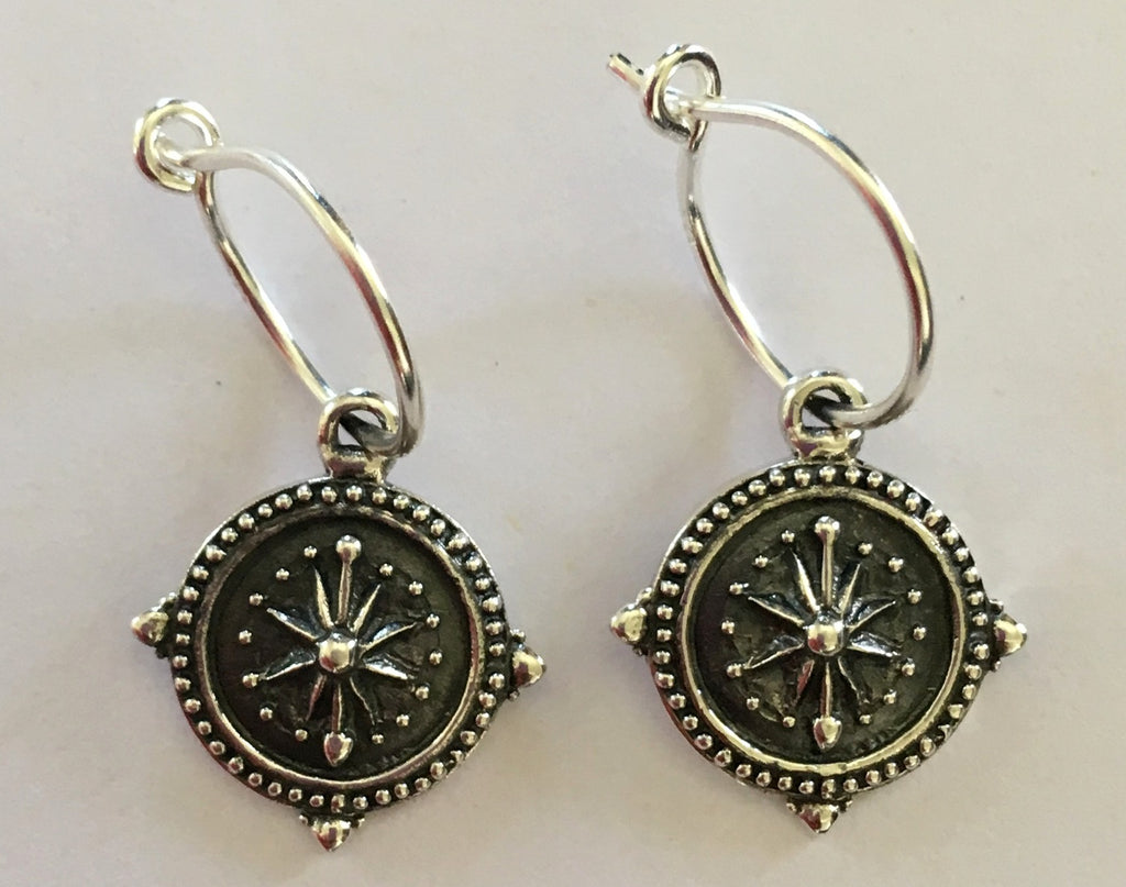 *SALE - No Division: Sterling Silver Compass Coin Earrings