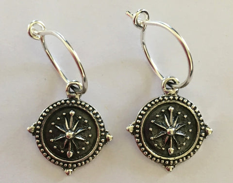 No Division: Explorer - Sterling Silver Compass Coin Earrings