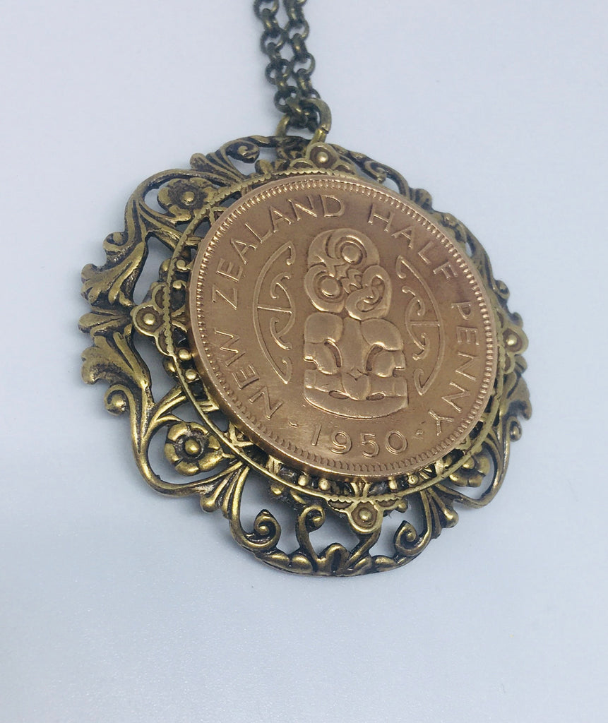 NEW!! Re-minted Half Penny Layered Floral Circle Pendant