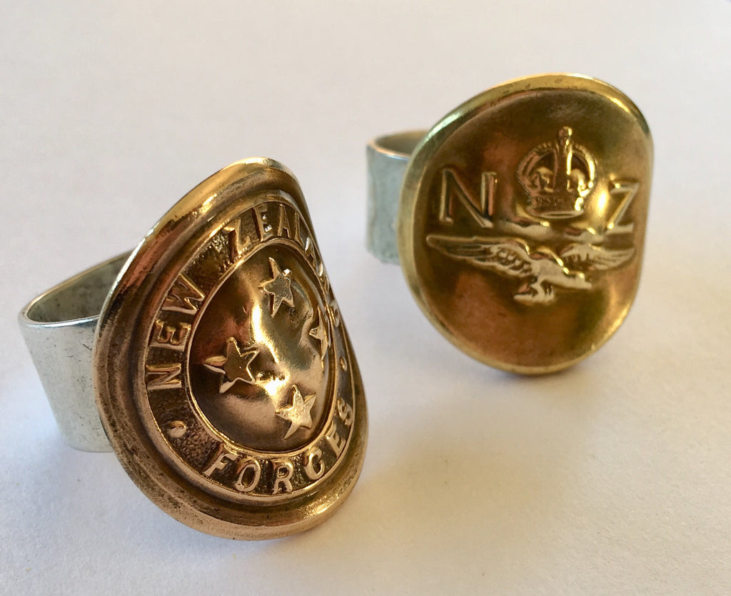 Unisex Antique Military Button Ring