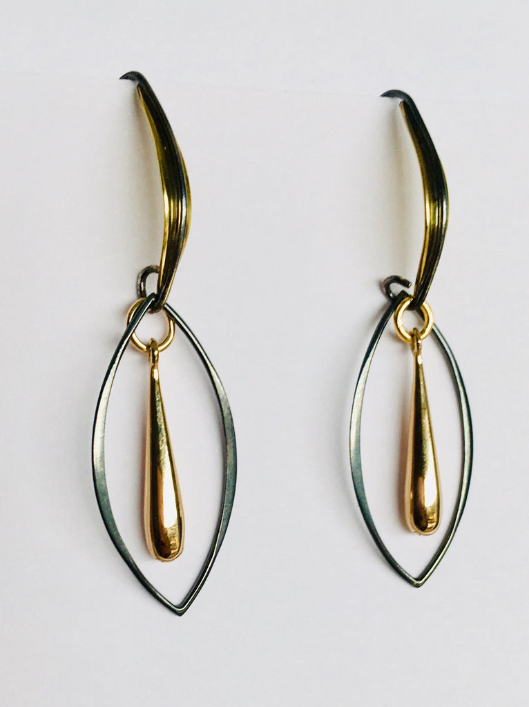 No Division Bronze/gunmetal long teardrop earrings