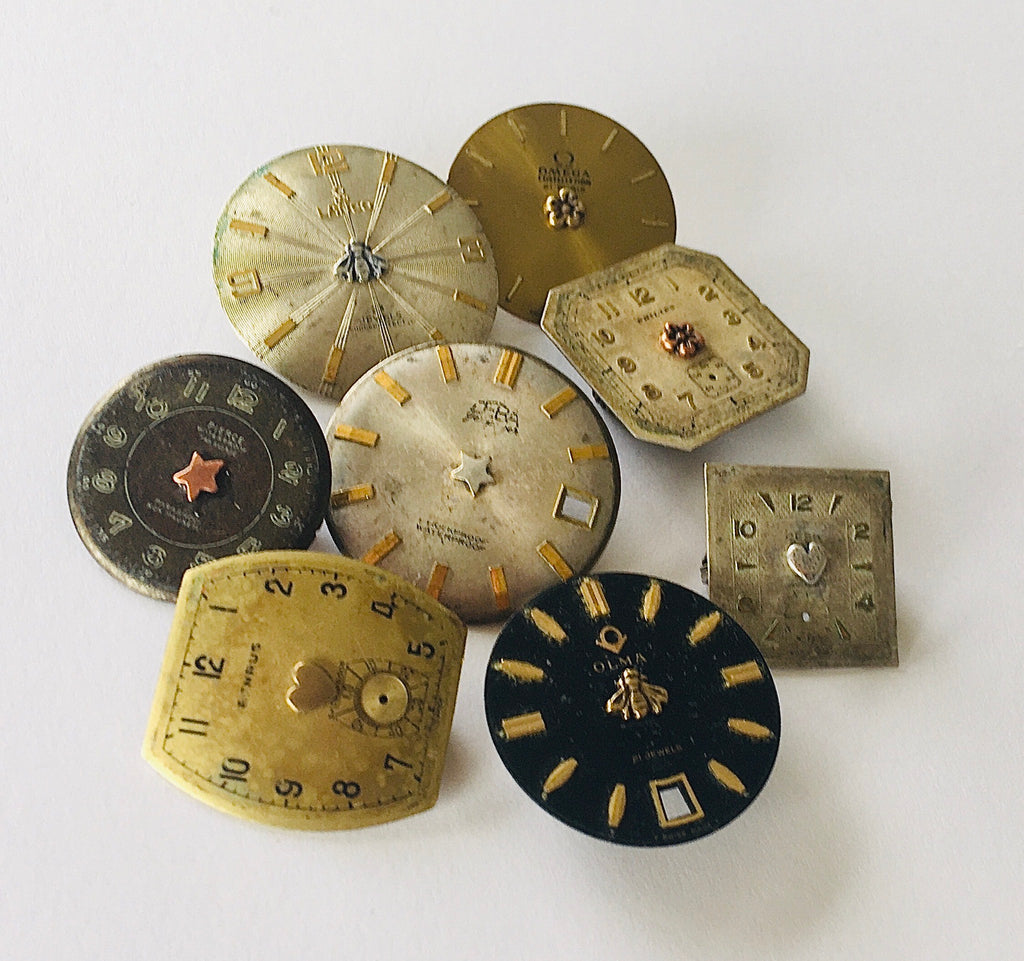 Timepiece Watchface brooches with Tiny Symbols