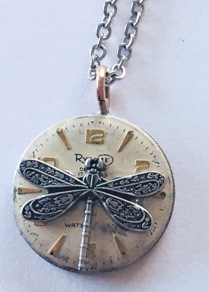 Vintage Eclectic Small Watchface/Sixpence Double-Sided Pendant