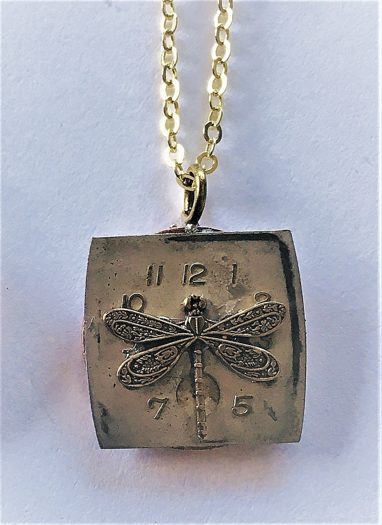 Vintage Eclectic Small Double-Sided Watchface/2 Cent Pendant