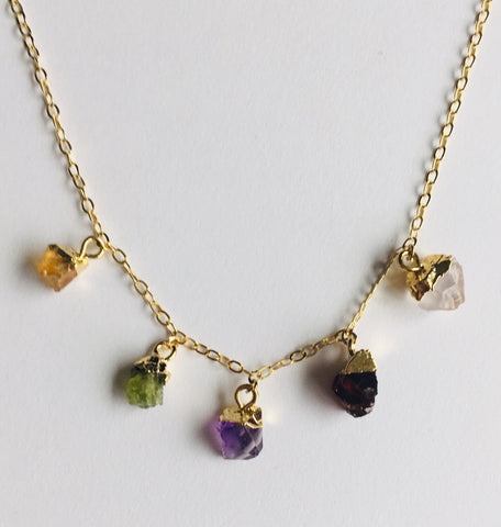*No Division Mini Raw Gemstones - Five Stone Necklace