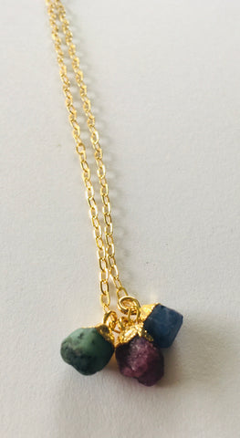 *No Division Mini Raw Stone TRIO necklace - Two to choose from