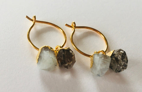 *No Division Mini Raw Stone Duo Hoop Earrings