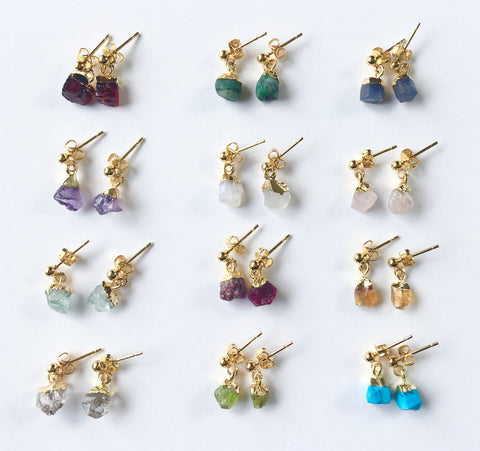 *No Division Mini Raw Stone Earrings - Gold Birthstones