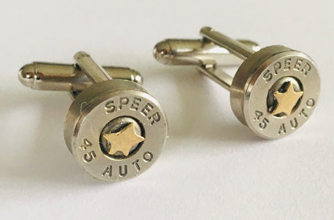 Bullet Head Cufflinks with Tiny  Stars - Brass or Silver