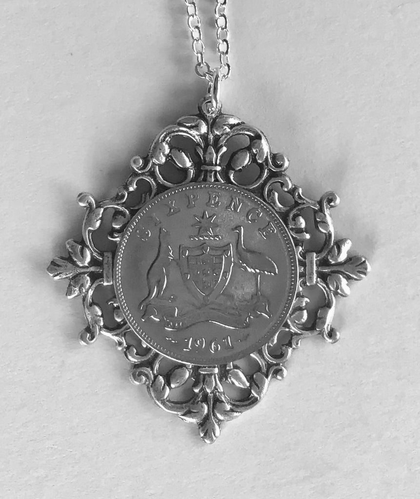 Re-minted AUSTRALIAN Sixpence Diamond Framed Pendant