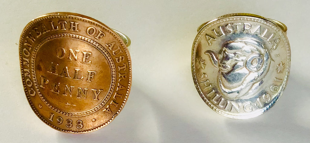 Re-minted AUSTRALIAN Half Penny and Shilling Rings
