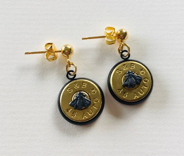 Bullet Slice Earrings with Tiny Symbols - Gunmetal/Gold