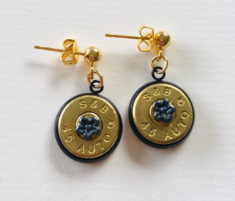 Bullet Slice Earrings with Tiny Symbols - Gunmetal/Gold - NEW!!