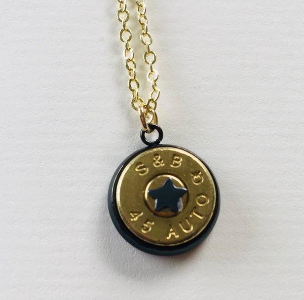 Bullet Slice Pendant with Tiny Symbols - Gunmetal/Gold - NEW!!