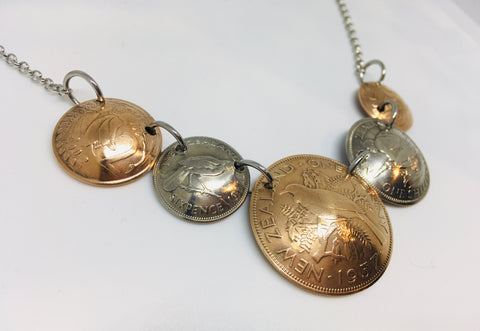*Re-minted NZ Multicoin Necklace featuring One Penny - NEW!!